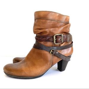 Pikolinos Slouchy Leather Strappy Heel Boots
